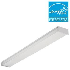 Lithonia Lighting 4 White 2 Bulb T8 Fluorescent Ceiling Fixture 3348 ...