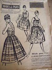 2733(599) ANCIEN PATRON MODES DE PARIS ROBE PORTEFEUILLE  T 44   ANNEE 1960