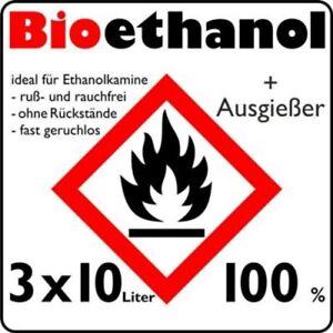 30 L Liter Aktion 100% Bioethanol Bio Alkohol Ethanol Kamin