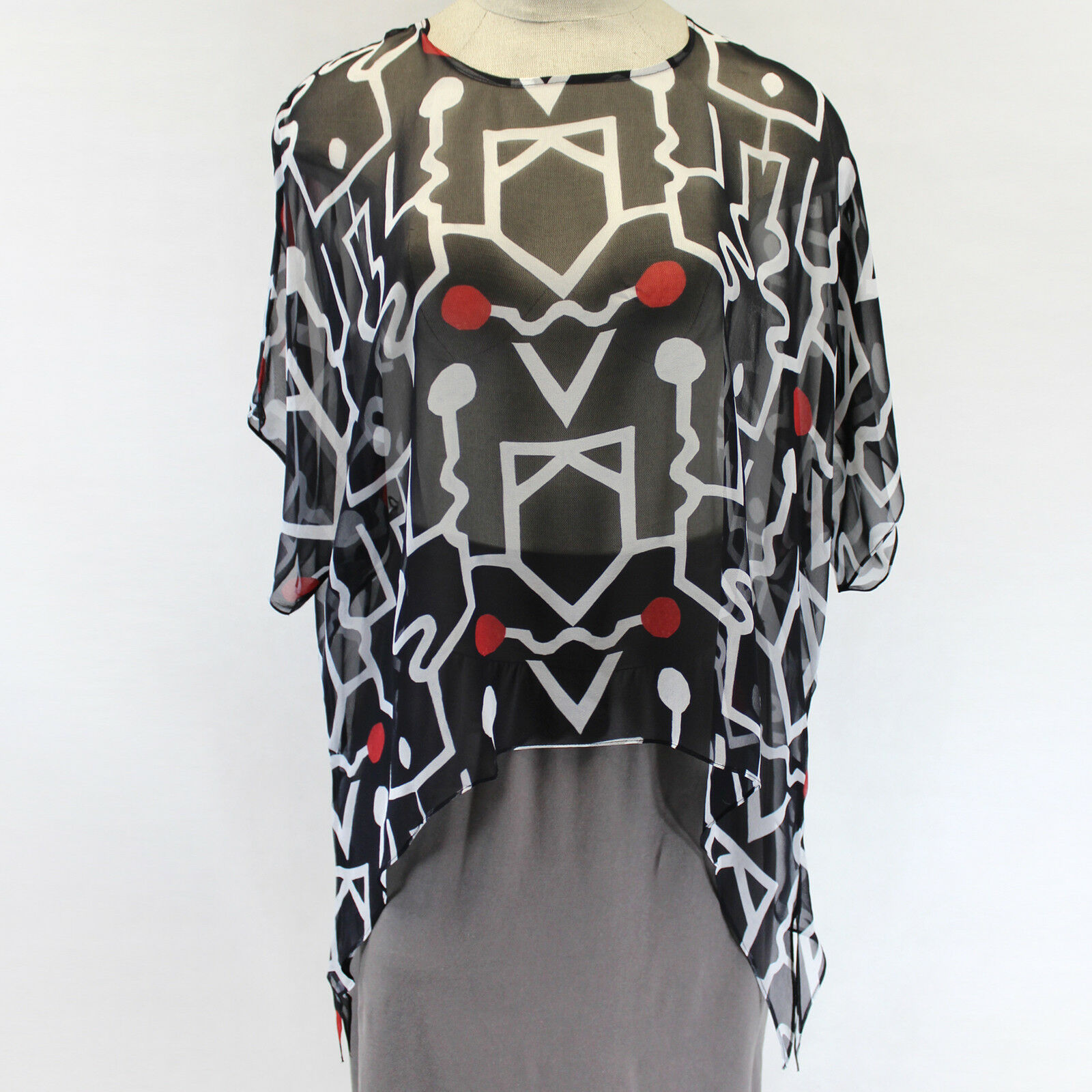 NEW NWT Cocoon House Network Art to Wear 100% Silk Pointed Blouse Top Small Med