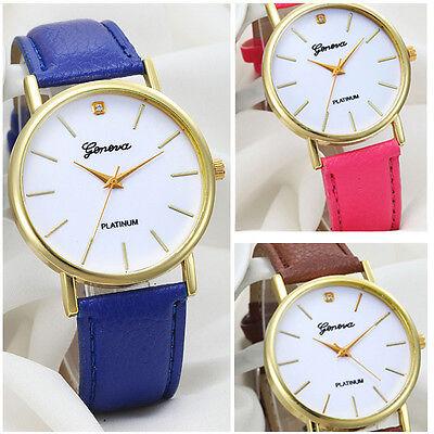 2015 Fashion Design Women Watches Geneva Leather Band Analog Wrist Watch Quartz