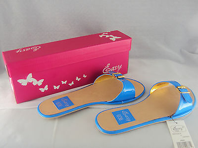 Womens Shoes Buckle Sandal, Easy USA, Style S9661, Colors Blue, Green, White NEW