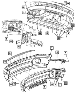 Genuine Chrysler 55077387AA Bumper Grille