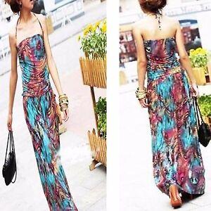 Womens-Peacock-Summer-HalterneckLong-MaxiDress-EveningCocktail-Party-Beach-Dress