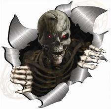 Single Metal Rip Open Torn Skeleton Skull Sticker JDM Race Car Van Bike Drift