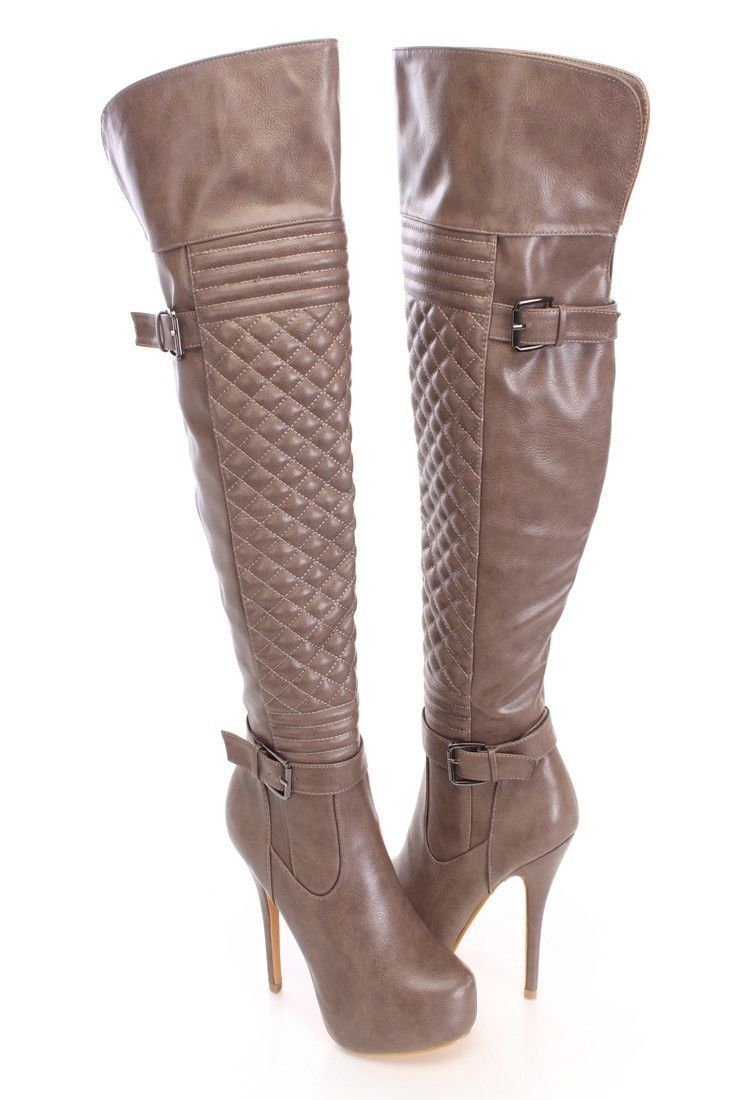 Lot STITCHED CHAIN STRAPPY Faux Leder Suede High Quilted Thigh High Suede Heels Stiefel bdacbf