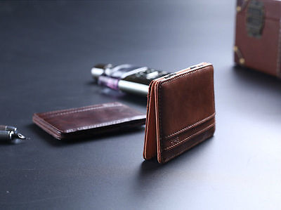 Mens Magic Wallet Leather Slim Money Clip Credit Card Holder ID Business HME