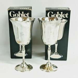 Vintage-1979-Leonard-Silver-Mfg-Silver-Plated-Wine-Goblets-W-Box-816-Lot-of-2
