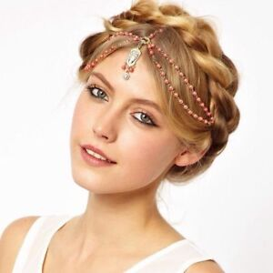 Gold Plated Pearl Indian Hair Head Chain Forehead Jewelry Bridal