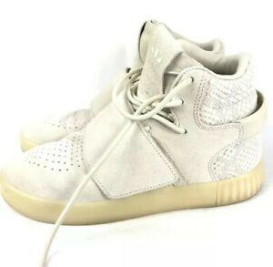 Adidas-tubular-Bracelet-Garcons-Taille-UK-2-5-Beige-Blanc-Trainer-etat-utilise