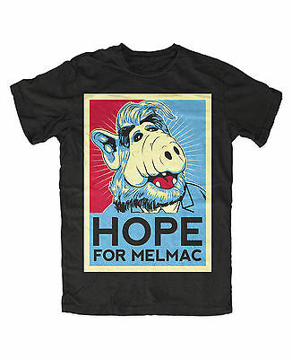 Alf Hope for Melmac T-Shirt Schwarz ,Lecker Katze, Kult Serie,Alf,Gordon Shumway