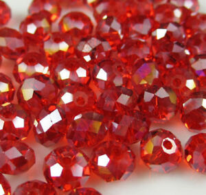 Diy-Jewelry-145pc-Faceted-Rondelle-glass-crystal-3-4mm-Beads-red-AB