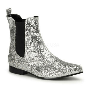 3fe29ef3141f Mens Silver Glitter Mariachi Dress Cowboy Boots Pimp Daddy Costume Shoes