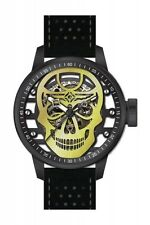 Invicta S1 Rally Mechanical Transparent Gold Skull Dial Black Leather Mens