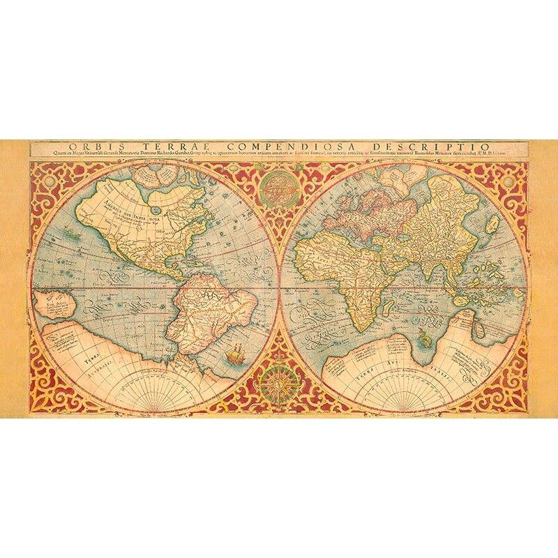 Quadro su Pannello in Legno MDF Anonymous Orbis Orbis Orbis Terrae Compendiosa Descriptio, 1 0b75d8