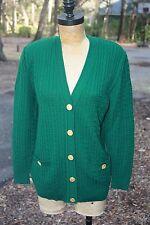 Women's Vintage Celine Sweater France Paris Button Up Cardigan 8 Green Logo 40