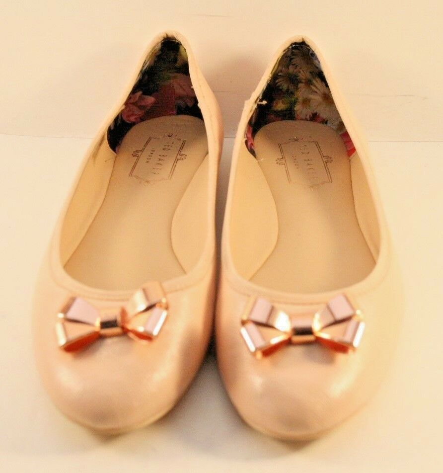Ted Baker Pink Leather Imme 2 Bow Ballerinas Womens Size US 7.5M