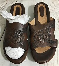 Born Hand Crafted Tooled Brown Leather Wedge Slides Sandals Shoes Size 8