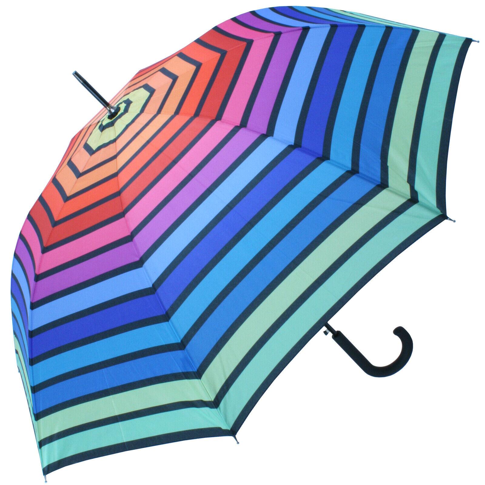 Horizontal Rainbow Walking Length Umbrella by Soake - Green Border