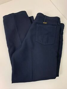 Vintage Pantalones Wrangler 100 Poliester Azul Marino Para Hombre Talla 38 X 32 Hecho En Ee Uu Ebay