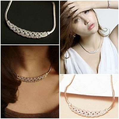 Vogue Charm Jewelry Pendant Chain Crystal Choker Chunky Statement Bib Necklace