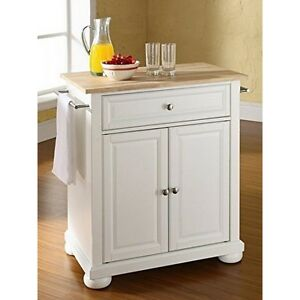 Details about Crosley Furniture Alexandria Natural Wood Top Island White  Kitchen Cart