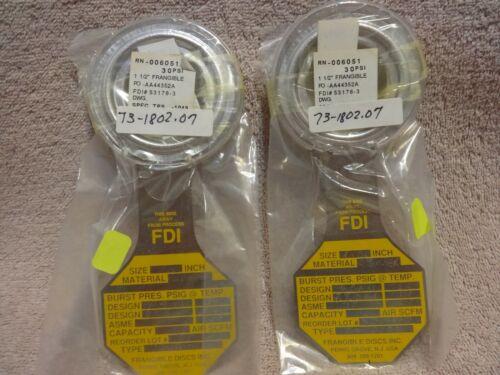 ASME 30 @72 deg 1 1//2 RUPTURE DISC FIKE DISC 53178-3 NEW 2-FRANGIBLE DISC INC
