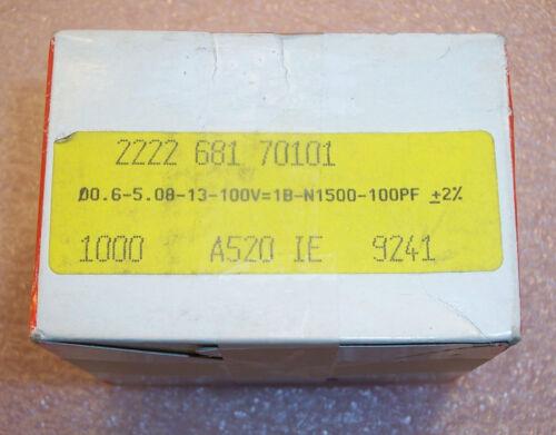 100 QTY 100pf 100V 2/% NPO MINIATURE CERAMIC PLATE CAPACITORS R101G23P3KHWFAD