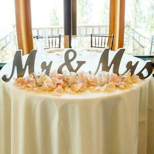 Large wooden mrmrs shining standing letter sign plaque wedding image is loading large wooden mr amp mrs shining standing letter junglespirit Image collections