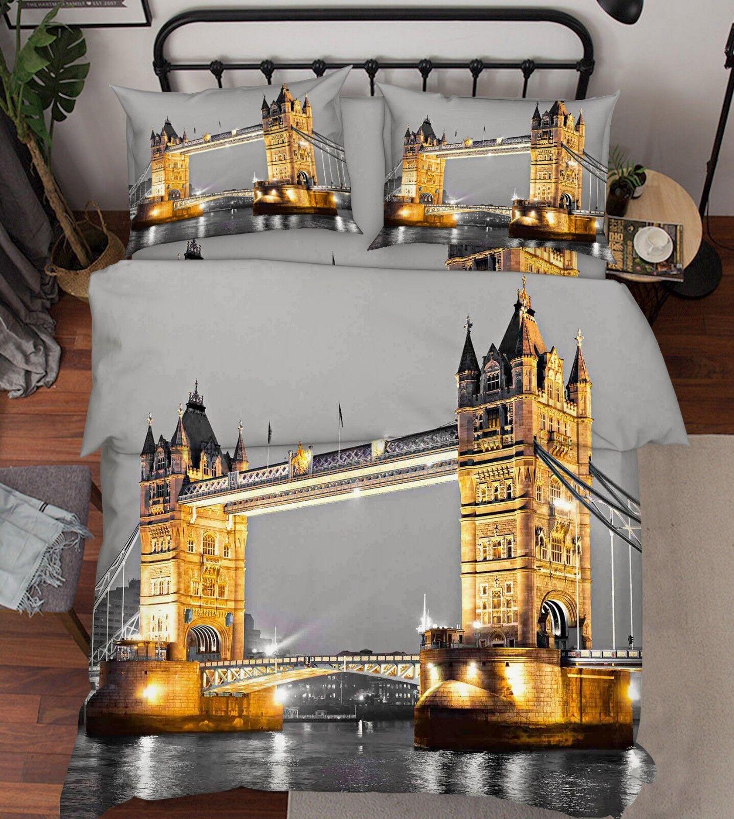 3D Bridge Landscape80 Bed PilFaiblecases Quilt Duvet Cover Set Single Queen King CA