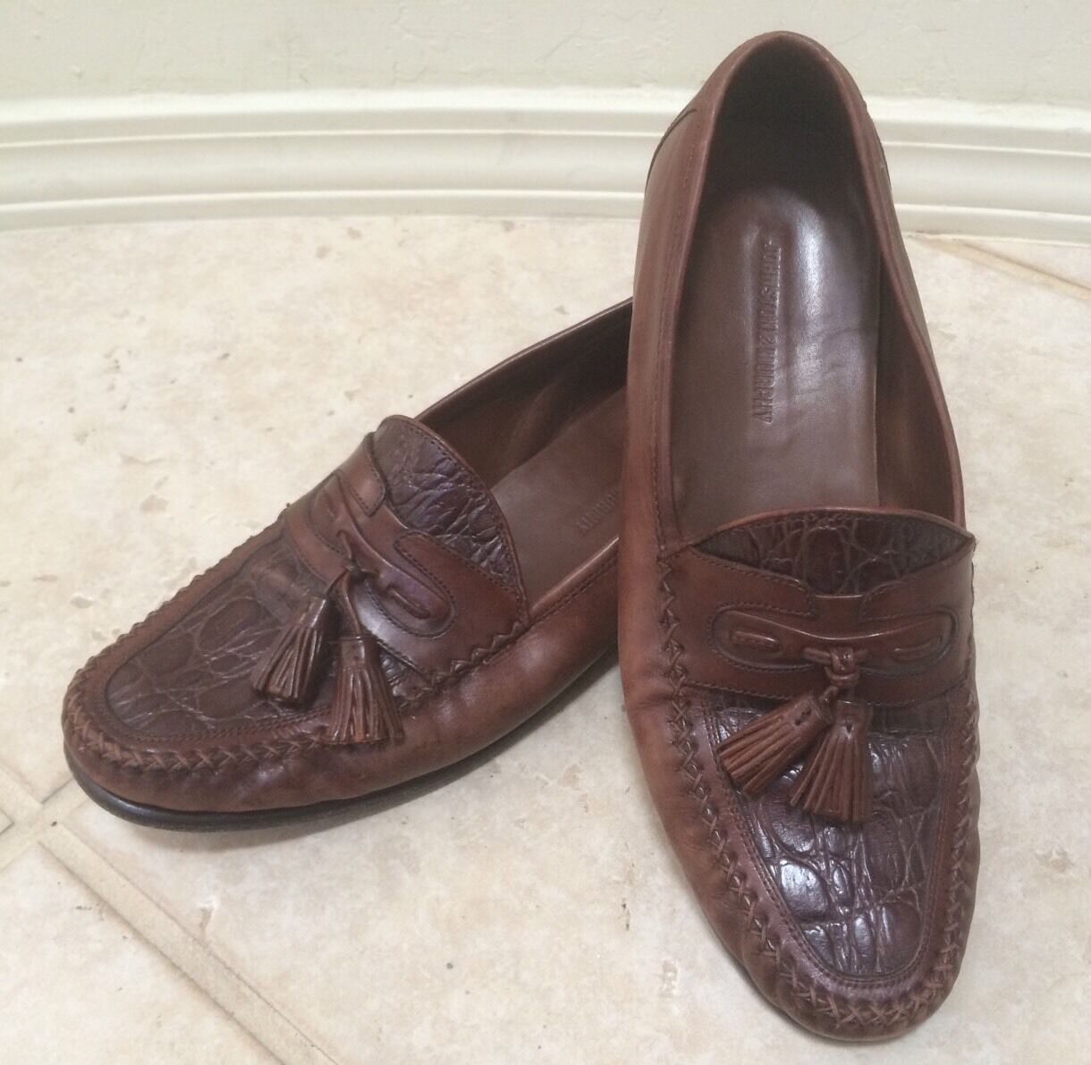 Uomo scarpe Dimensione 10 M Dark Tan Leather Slip On On On Tassel Loafers Johnston & Murphy 705c2c