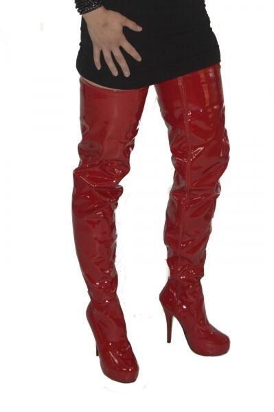 risparmia il 50% -75% di sconto Crotch Overkneestivali ROSSO ROSSO ROSSO NUOVO stivali Scarpe Stivali da Donna High-Heels coscia alta  migliori prezzi e stili più freschi