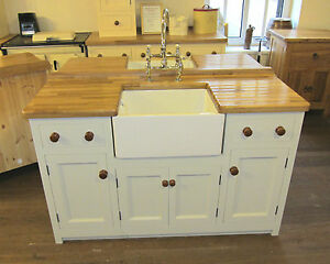 1500 X 600 Freestanding Pine Kitchen Belfast Sink Unit Oak Worktop Ebay