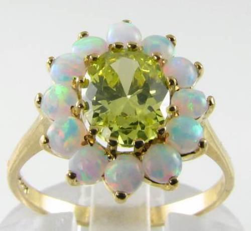 Classic 9K 9CT oro Peridot Peridot Peridot Opal grandi Cluster ART DECO INS Anello libero Ridimensiona 94d78d