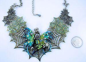Kirks-Folly-Avalon-Steampunk-Spiderella-Spider-Web-Necklace-Halloween-SF