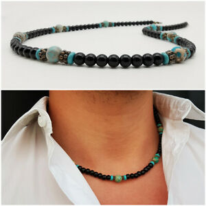 Collana-uomo-pietre-da-surfista-con-perle-pietre-dure-in-nero-nera-girocollo-blu