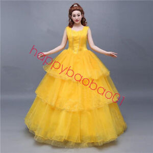 Adult Beauty And The Beast Princess Belle Cosplay Costume Ball Gown