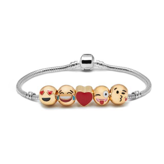 Emoji Charm Bracelet - 5 Charms - 18K Yellow Gold Plated Beads