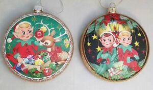 Elf-Reindeer-Ornament-Set-2-Vintage-Style-Retro-Christmas-Holiday-4-034-Glass-Disc