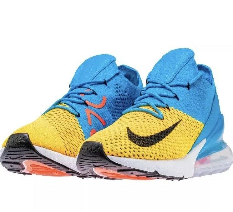 Nike Air Max 270 Flyknit AO1023-800 Laser Orange Blue Orbit Size US 14