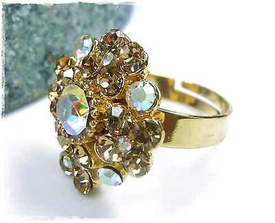 Verantwortlich Neu Ring Goldfarben Swarovski Steine Hellbraun/braun Schmucksteine Kristall Ab MöChten Sie Einheimische Chinesische Produkte Kaufen?