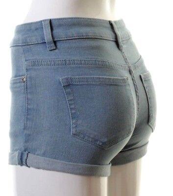 Womens Ladies Mid Waisted Denim Micro Shorts Holiday Beachwear Hotpants 6 to 16