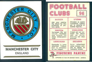Manchester-City-DISTINTIVO-Inghilterra-FOOTBALL-CLUBS-75-ed-PANINI-NUOVO-ORIGINALE-n-96