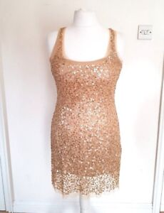 Ladies-NEW-beautiful-sequin-beaded-Beige-Gold-dress-10-Bodicon-Party-Evening