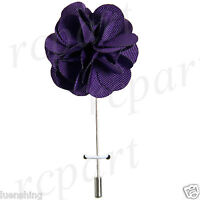 In Box Brand Q Formal Men's Suit Chest Brooch Solid Purple Lapel Pin