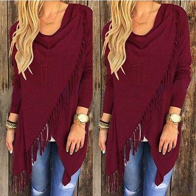Women Irregular Tassel Knitted Cardigan Loose Sweater Outwear Jacket Poncho Coat