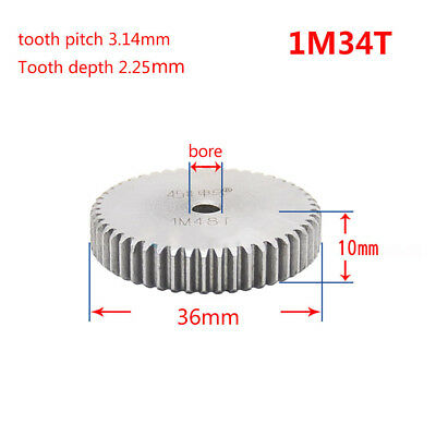 1 Mod 34T Spur Gear 45# Steel Pinion Gear Thickness 10mm Outer Dia 36mm x 1Pcs