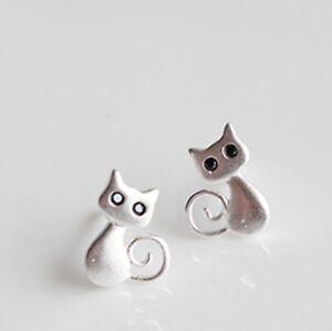 FREE-GIFT-BAG-Solid-925-Sterling-Silver-Kitten-Cat-Ladies-Stud-Earrings-Birthday