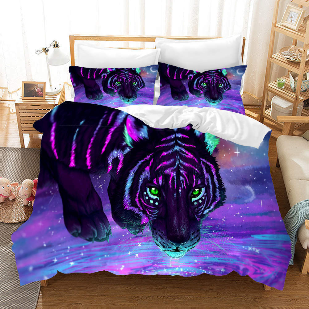 Amber lila Tiger 3D Druckening Duvet Quilt Will Startseites Pillow Case Bettding Sets