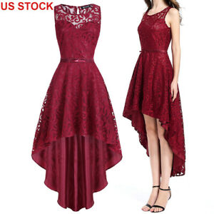 Women-039-s-Bridesmaid-Long-Red-Sleeveless-Lace-Evening-Party-Cocktail-Summer-Dress